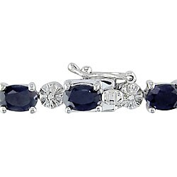 Miadora Black Sapphire and Diamond Accent Patterned Tennis Bracelet in Sterling Silver (G-H, I2-I3)