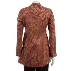 Maharani Women's Long-sleeved Orange Silk Jacket (India) - Thumbnail 1