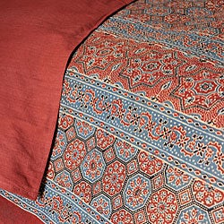 Red Kalamkari Cotton 3-piece Duvet Cover Set (India) - Thumbnail 1