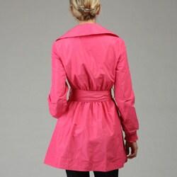 ABS by Allen Schwartz Women's Pink Cinched Waist Trench Coat - Thumbnail 1