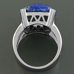 Handcrafted Stainless Steel Bold-faceted Lapis Lazuli Ring (China) - Thumbnail 1
