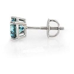 14k White Gold 2ct TDW Blue Diamond Stud Earrings - Thumbnail 1