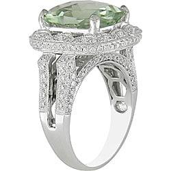 18k Gold Green Amethyst and 1ct TDW Diamond Ring (G-H, SI1) - Thumbnail 1