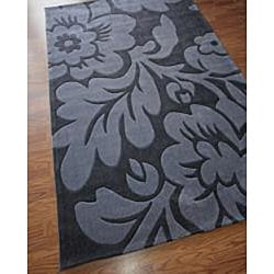 nuLOOM Hand-tufted Pino Collection Floral Grey Rug (7'6 x 9'6)