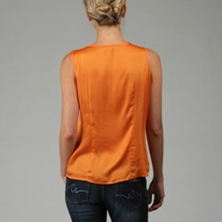 Violet & Claire Women's Missy Orange Ruffle-front Top