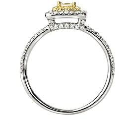 14k Gold 5/8ct TDW White and Yellow Diamond Halo Ring (G-H, SI1-SI2) - Thumbnail 1