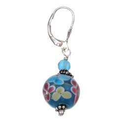 Lola's Jewelry Sterling Silver Flower Power Blue Art Glass Earrings - Thumbnail 1