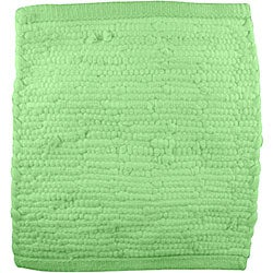 Handmade Jersey T-shirt Green Cotton Shag Rug (3' Round)