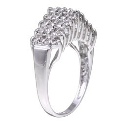 Sterling Essentials Sterling Silver Cubic Zirconia Pyramid Ring - Thumbnail 1