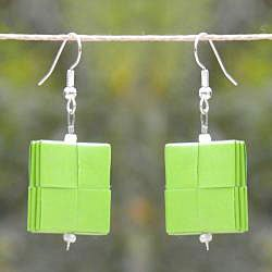 Two Squares Folded Paper Hook Earrings (Chile) - Thumbnail 1