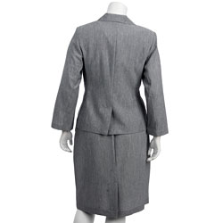 First Lady Women's Plus Size Grey 3-piece Skirt Suit
