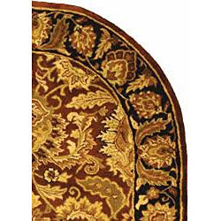 Safavieh Handmade Classic Jaipur Rust/ Black Wool Rug (4'6 x 6'6 Oval) - Thumbnail 1