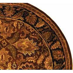 Safavieh Handmade Classic Jaipur Rust/ Black Wool Rug (6' Round) - Thumbnail 1