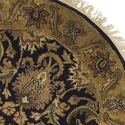 Safavieh Handmade Traditions Black/ Light Brown Wool Rug (3'6 Round) - Thumbnail 1