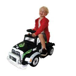 Battery Operated Black Ride-On Mack Truck - Thumbnail 1