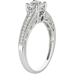 Miadora 14k Gold 1ct TDW Diamond and Pink Sapphire Engagement Ring (H-I, I2-I3) - Thumbnail 1
