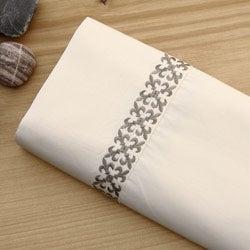 Fleur-de-lis Embroidered Cotton Sheet Set