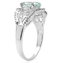 Malaika Sterling Silver Oval-cut Aquamarine Ring (1.45 mm) - Thumbnail 1