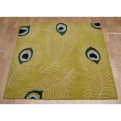 Alliyah Handmade  Sage Green New Zealand Blend Wool Rug  (6' Square) - Thumbnail 1