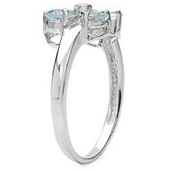 Malaika Sterling Silver Aquamarine and Diamond Accent Butterfly Ring - Thumbnail 1