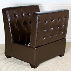 Lombard Brown Tufted Bonded Leather Storage Chair Ottoman