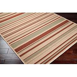 Cafe Beige Stripe Indoor/Outdoor Rug (7'6 x 10'9) - Thumbnail 1
