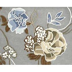 Handmade Aurora Rose Garden Steel Grey Wool Rug (4' x 6') - Thumbnail 1