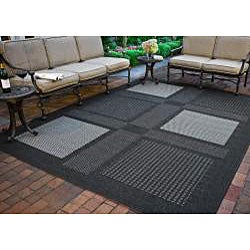 Safavieh Lakeview Black/ Sand Indoor/ Outdoor Rug (7'10 Square) - Thumbnail 1