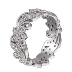 Tacori IV Sterling Silver Cubic Zirconia Floral Design Eternity Band - Thumbnail 1
