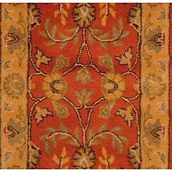 Indo Hand-tufted Kashan Rust Wool Runner (2'3 x 7') - Thumbnail 1