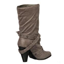 Bucco Women's Buckle Detail Mid-calf Boots - Thumbnail 1