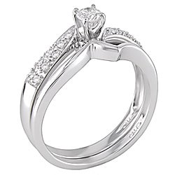 14k White Gold 1/3ct TDW Diamond Bridal Ring Set (H-I, I2-I3) - Thumbnail 1