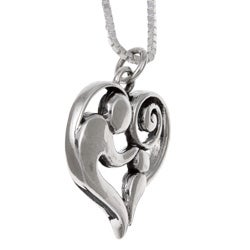 Lola's Jewelry Sterling Silver Charm Necklace of mother and child - Thumbnail 1