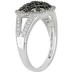 Miadora 10k White Gold 1/3ct TDW Black and White Diamond Ring - Thumbnail 1