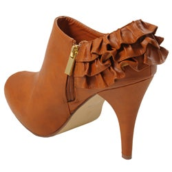 Bamboo by Journee Women's Ruffled Peep Toe Booties - Thumbnail 1