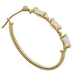 Gioelli 10k Yellow Gold Opal and Half-point Diamond Hoop Earrings