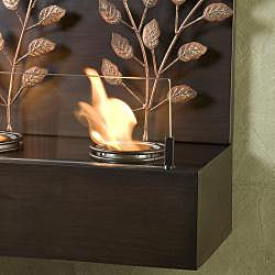 Vineyard Espresso Bronze Metal Wall Mount Fireplace - Thumbnail 1