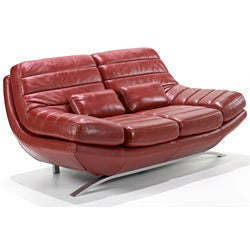 Red Leather Loveseat - Thumbnail 1
