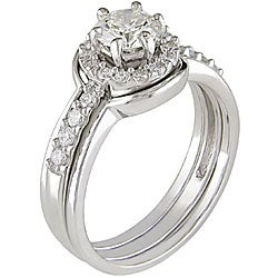 14k White Gold 1ct TDW Diamond Ring Set (G-H, I1-I2) - Thumbnail 1