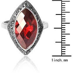 Sterling Silver Diamond-shaped Red Zircon/ Marcasite Stone Ring (China)
