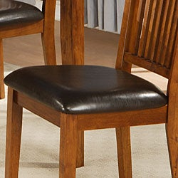 Beauville 18-inch Mission Oak Dining Chairs (Set of 2) - Thumbnail 1