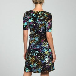 Thumbnail 2, Lily Women's Printed Short-sleeve Wrap Dress. Changes active main hero.