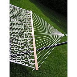 Extra-large 2-person White Rope Cotton Hammock Set - Thumbnail 1