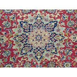 Persian Hand-knotted Isfahan Red Wool Rug (10'2 x 13'7) - Thumbnail 1