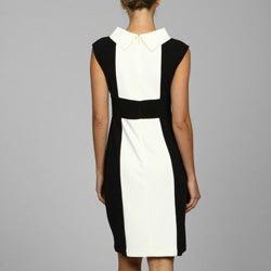 London Times Women's Black And White Banded-waist Dress - Thumbnail 1