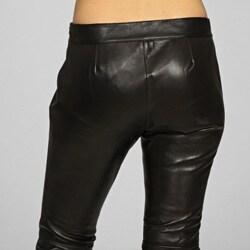 Miss Sixty Women's Black Leather Pants - Thumbnail 1