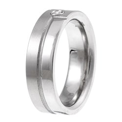 Titanium Men's Diamond Accent Bypass Design Band - Thumbnail 1
