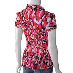 Nicola Women's Collared Short-sleeve Crinkle Top