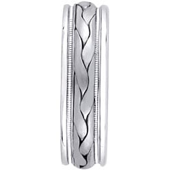 14k White Gold Men's Hand-braided Comfort Fit Wedding Band (7 mm) - Thumbnail 1