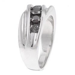 Unending Love Sterling Silver Men's 1ct TDW Black Diamond Ring